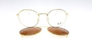RAYBAN Club Round Fleck Clip ON Gold Brown POLARIZED