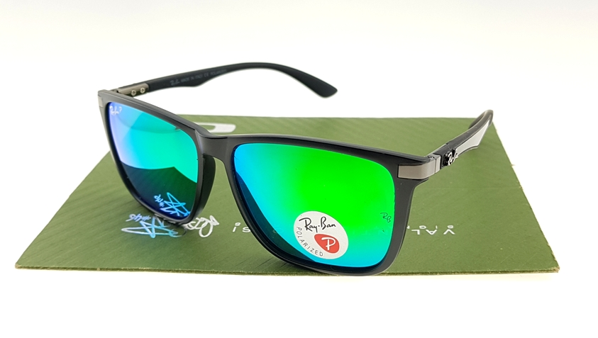 Ray Ban 4129 Highstreet Carbon Matte Black Lens Green Polarized